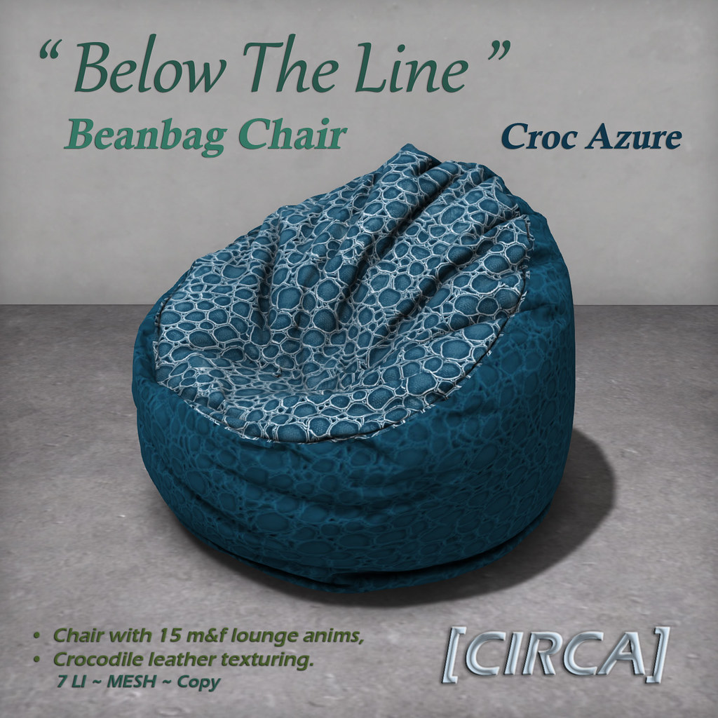 "For Syndicate Sunday | [CIRCA] - ""Below The Line"" Beanbag Chairs - Croc Azure - TeleportHub.com Live!"