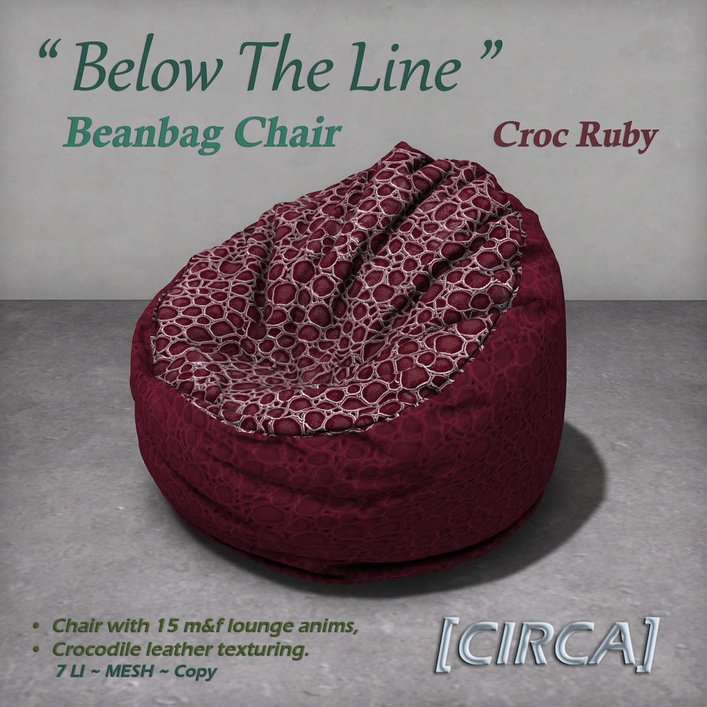 "For Syndicate Sunday | [CIRCA] – ""Below The Line"" Beanbag Chairs – Croc Ruby"