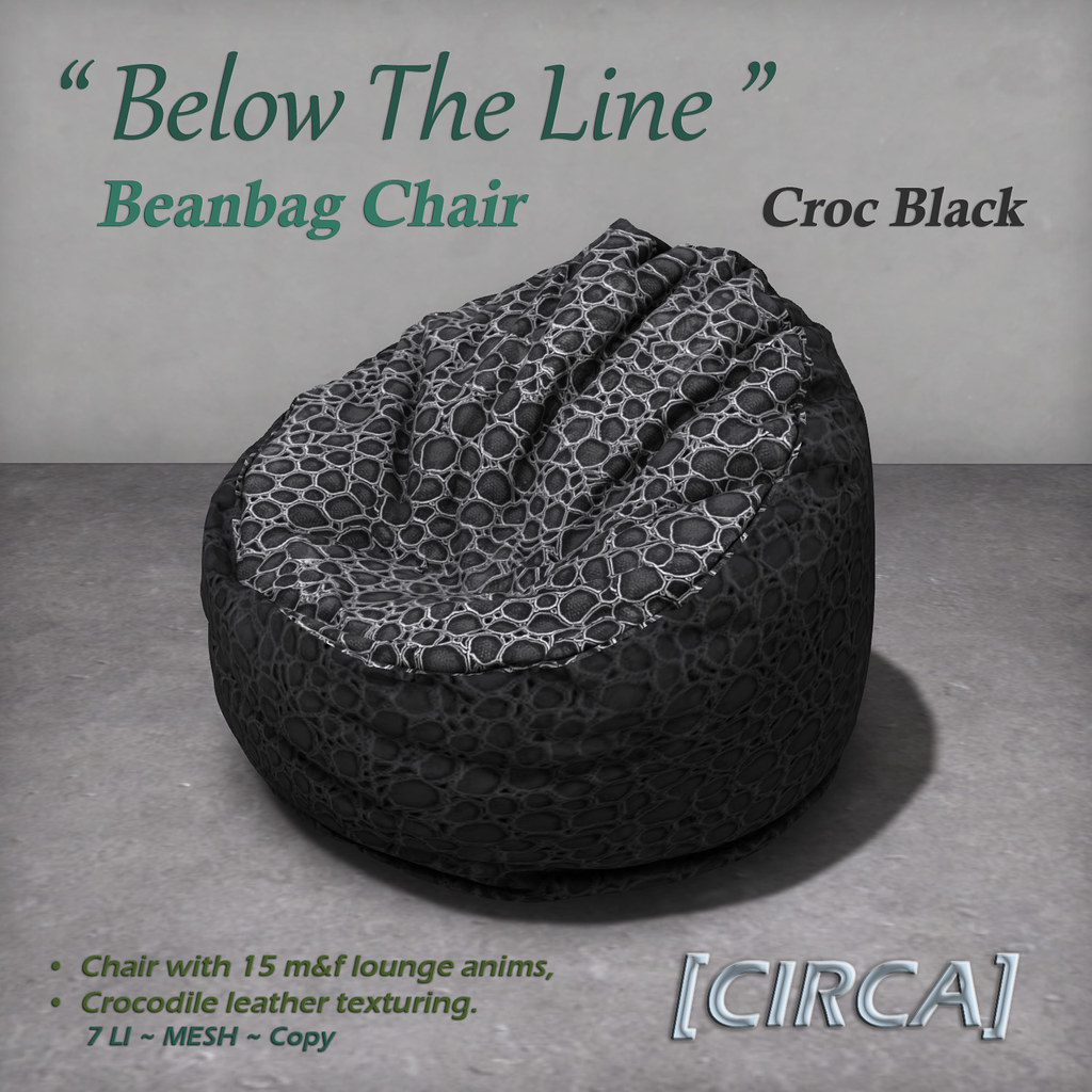 "For Syndicate Sunday | [CIRCA] – ""Below The Line"" Beanbag Chairs – Croc Black"