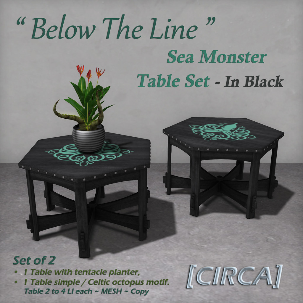 "For Syndicate Sunday | [CIRCA] – ""Below The Line"" Sea Monster Table Set – In Black"