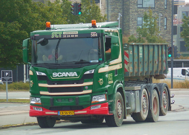 Summer holiday son rides with father driving SCT Next Generation 2019 Scania G410 CB56957