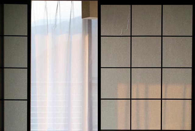 shoji and window at dusk