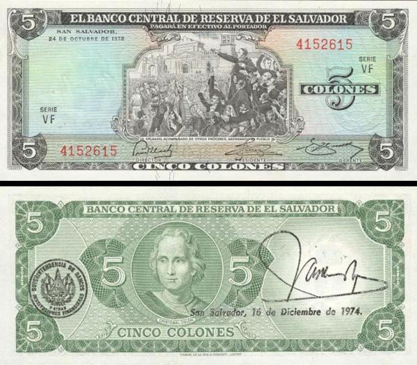 5 Colones Salvádor 1976, P117a