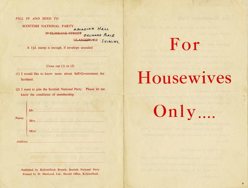 For Housewives Only…. Leaflet.  1950 / 1951