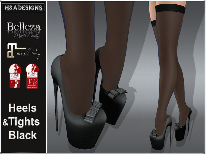 [H&A Designs]-Heels & Tights Black