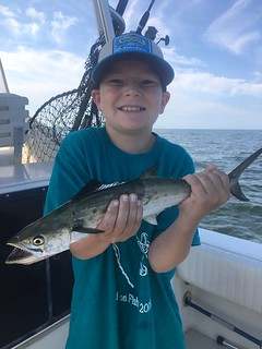 Photo of Boy holding a Spanish mackerel he caught