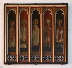 rood screen panels: St Andrew, St Felix?, Henry VI?, St Edmund, St Roche
