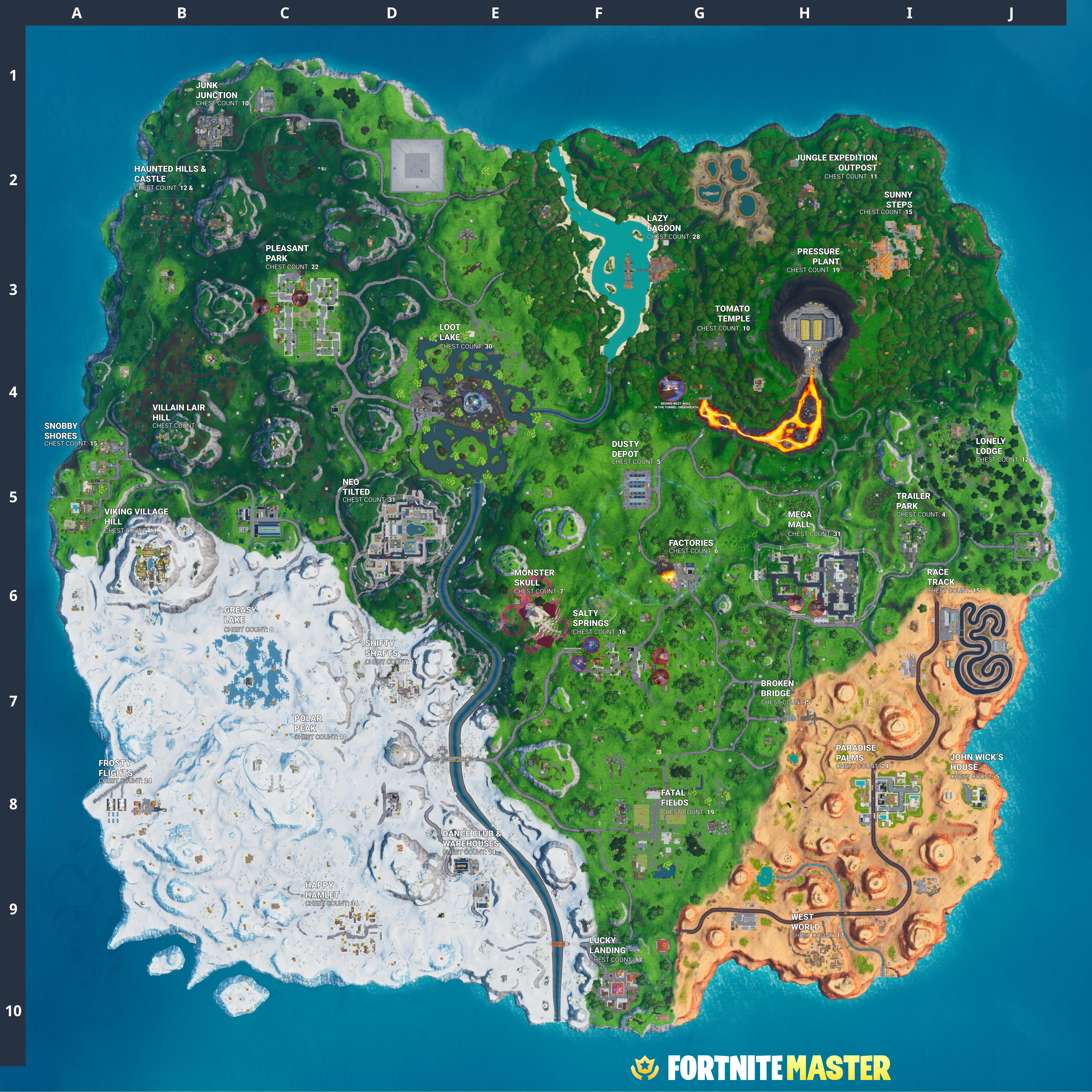 Fortnite V1000 Treasure Chest Spawns Map Fortnitemastercom