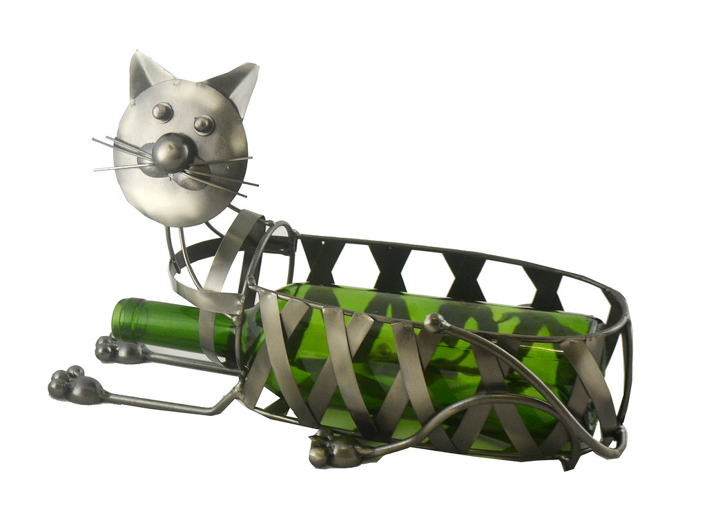 Metal Wine Bottle Holder, Laying Down Cat