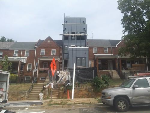 Crazy modern architecture discordant popup/infill house/rowhouse on the 1600 block of K Street NE, Trinidad neighborhood, DC