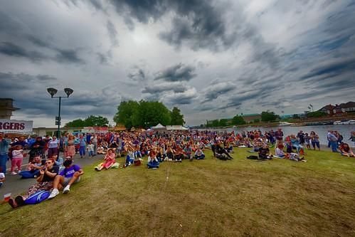 Riverside festival crowd