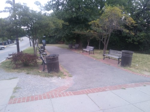 Benches and the Metropolitan Branch Trail adjacent to the Brookland Metrorail Station