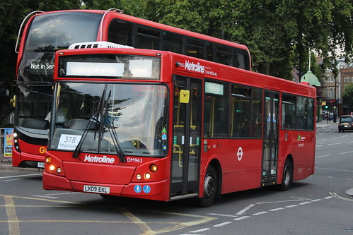 Metroline DM963 on Route 378, Putney Bridge
