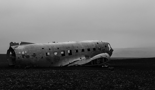 The chrashed airplane Iceland
