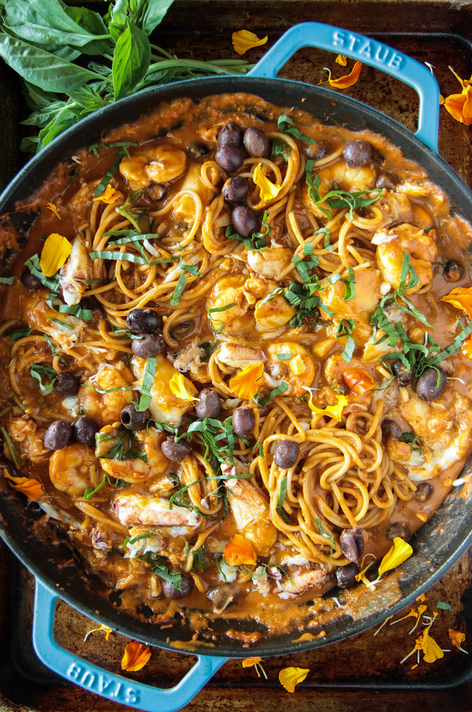 Spicy Tomato Seafood Pasta from HeatherChristo.com