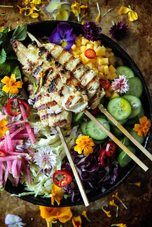 Grilled Lemongrass Chicken Salad from HeatherChristo.com | by Heather Christo