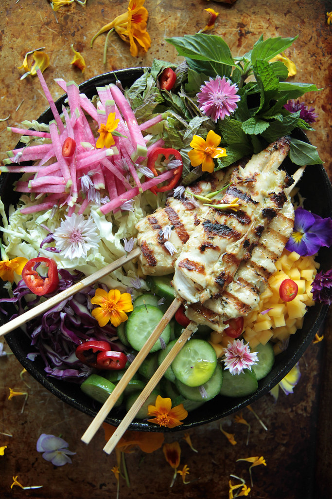 Grilled Lemongrass Chicken Salad from HeatherChristo.com