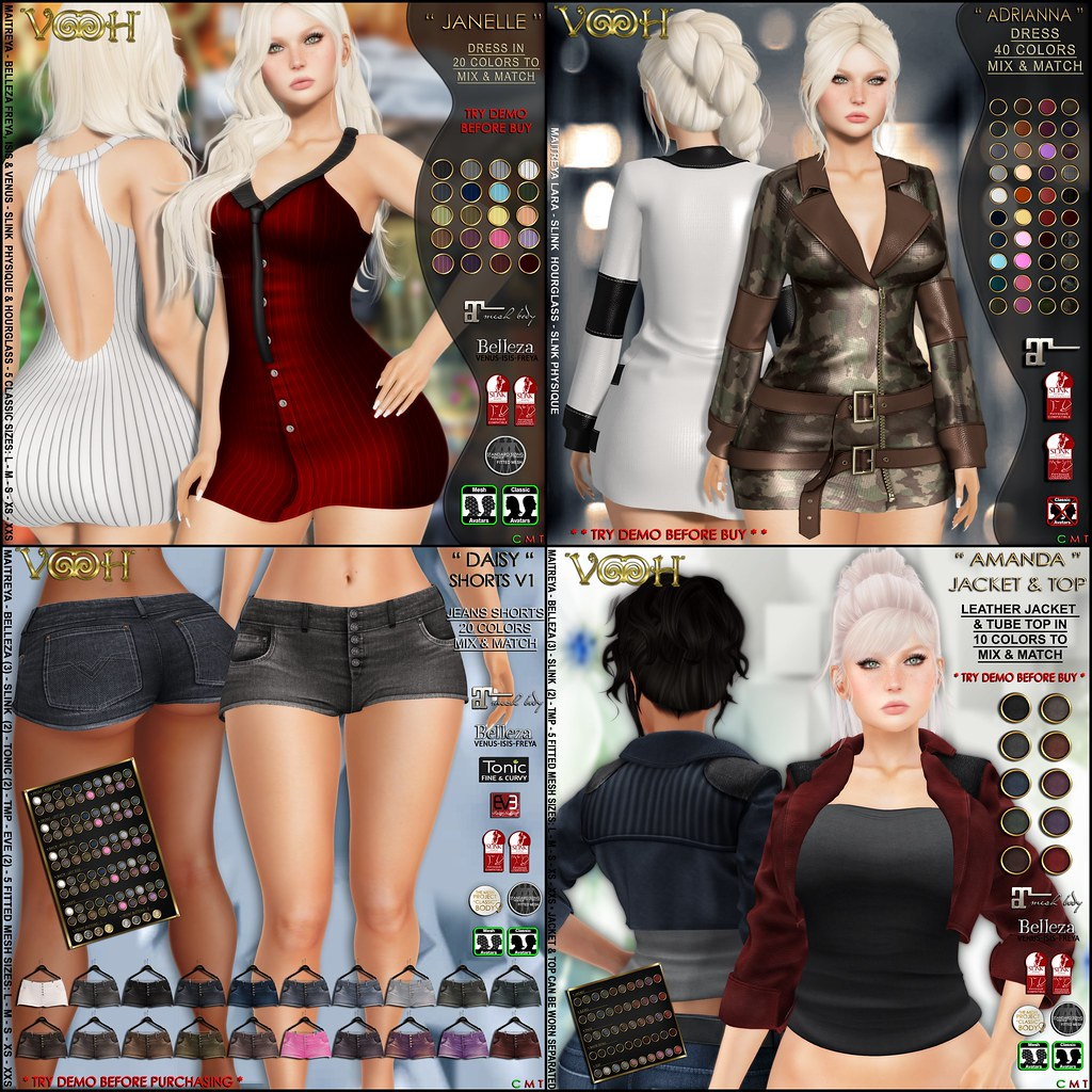 """ VOOH "" LATEST RELEASES: Janelle & Adrianna Dress – Amanda Jacket & Top – Daisy Shorts"