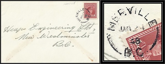 British Columbia / B.C. Postal History - 24 January 1948 - MERVILLE, B.C. (split ring / broken circle cancel / postmark) to New Westminster, British Columbia