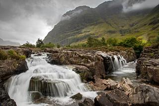 Moody  Day on the Clagaig Waterfall. Glen Coe Scotland..j