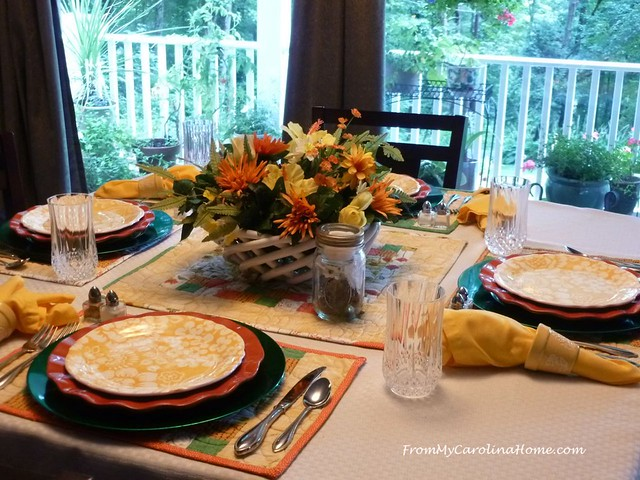 Colors of August Tablescape at FromMyCarolinaHome.com