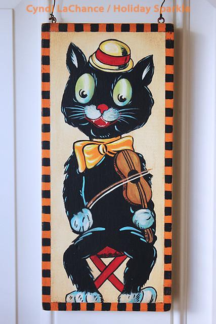 Halloween Wooden Panel Guitar Cat