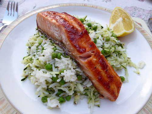 Harrisa Salmon with Green Rice