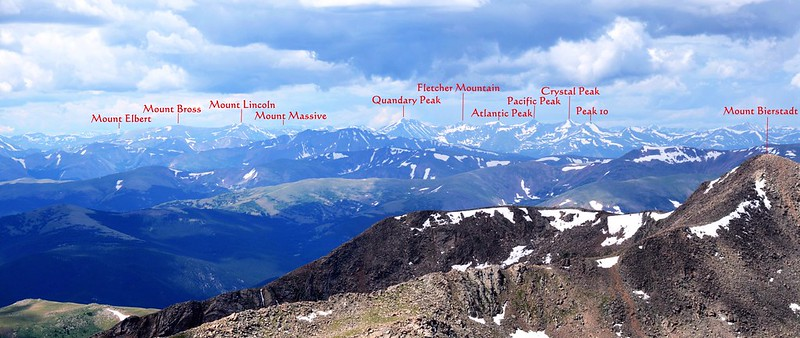 Looking southwest at mountains from Mount Evans' summit 1-1