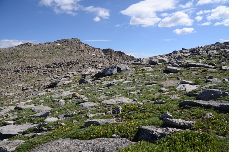 Looking north at Mount Spalding from  the west slope of Mount Evans after climbing the gully (2)