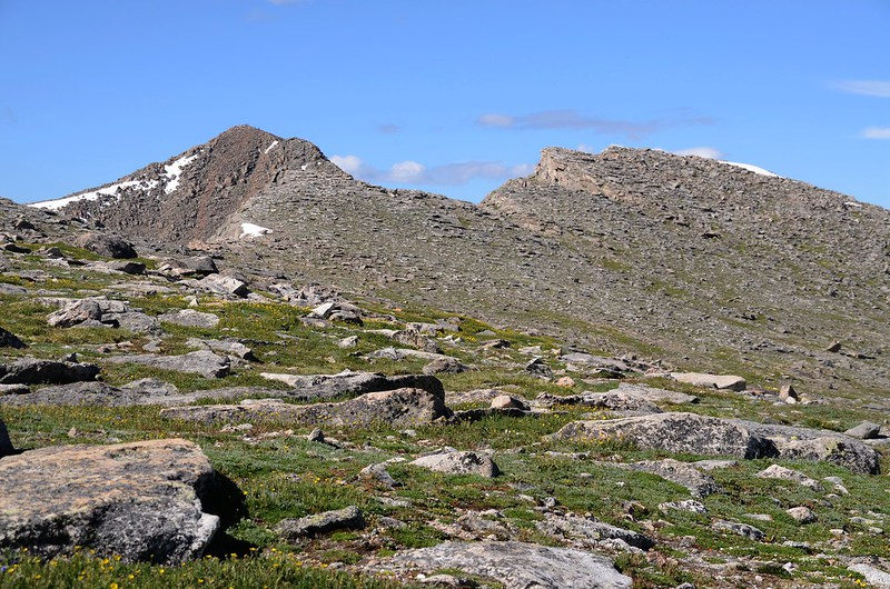 Looking south at Mount Biestadt & The Sawtooth from  the west slope of Mount Evans after climbing the gully (1)