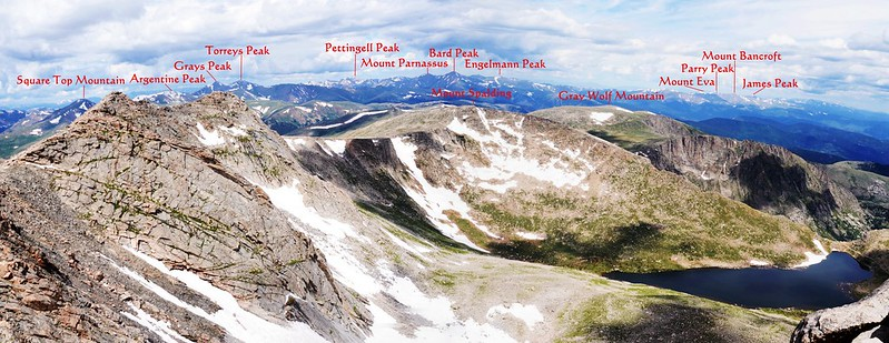 Looking northwest at mountains from Mount Evans' summit 1-1