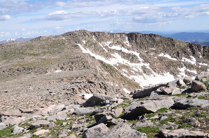 Looking north at Mount Spalding from  the west slope of Mount Evans after climbing the gully (4)