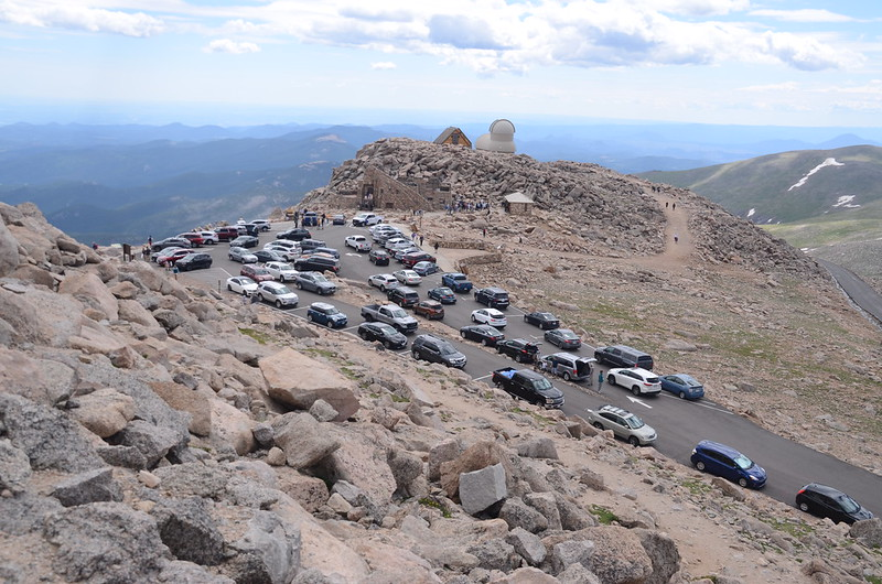 Looking down at summit parking lot from near the summit of Mount Evans (2)