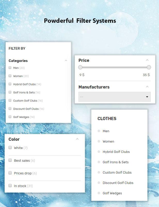 Vega Store - e-commerce Prestashop theme - ajax filters