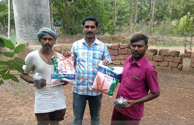 Distribution of fodder seeds of improved varieties to farmers in Karnataka State, India