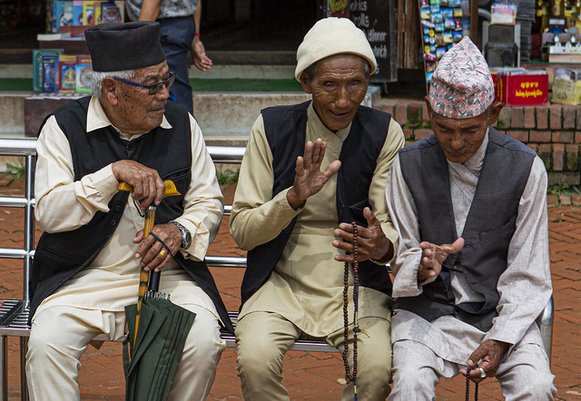 Old Men Chat At The Bodhnath, Nepal