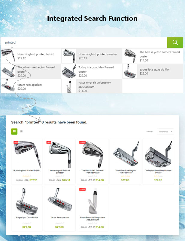Vega Store - e-commerce Prestashop theme - Ajax search