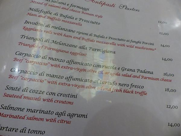 menu la Scala