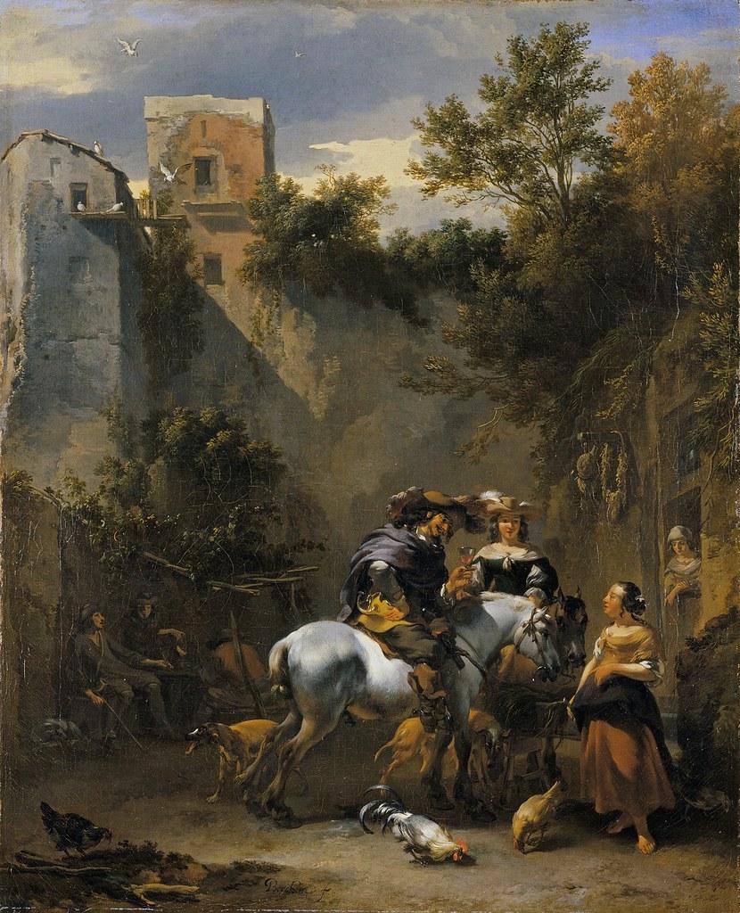 Nicolaes Bercham - Halt at an Inn [1670s] | Gandalf's Gallery