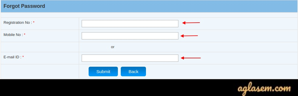 Forgot Password Login Details