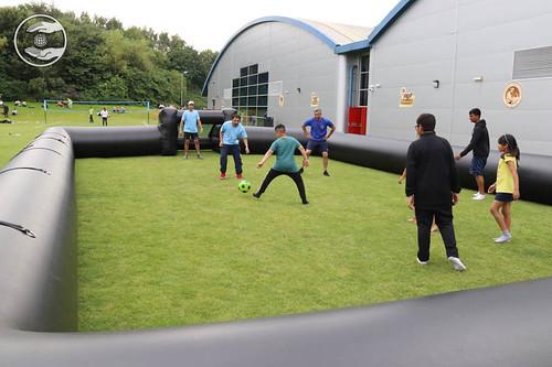 Devotee playing football