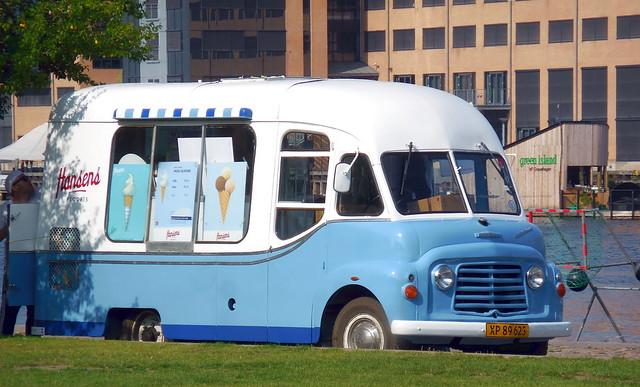 ex UK Karrier icecream van XP89625 sets up for a day selling on Copenhagen harbour front