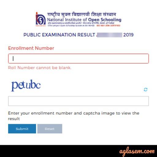 NIOS 12th Result October 2019