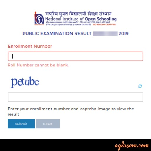 NIOS 10th Result October 2019