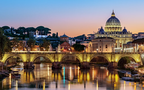 rome roma italy italia vatican vaticancity stpetersbasilica basilica bluehour river tiberriver ponteumberto