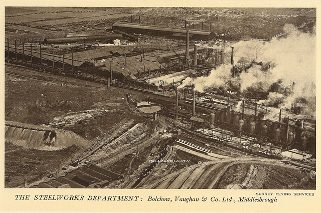 Bolckow, Vaughan & Co Ltd of Middlesbrough - aerial view of the Steelworks department, 1929