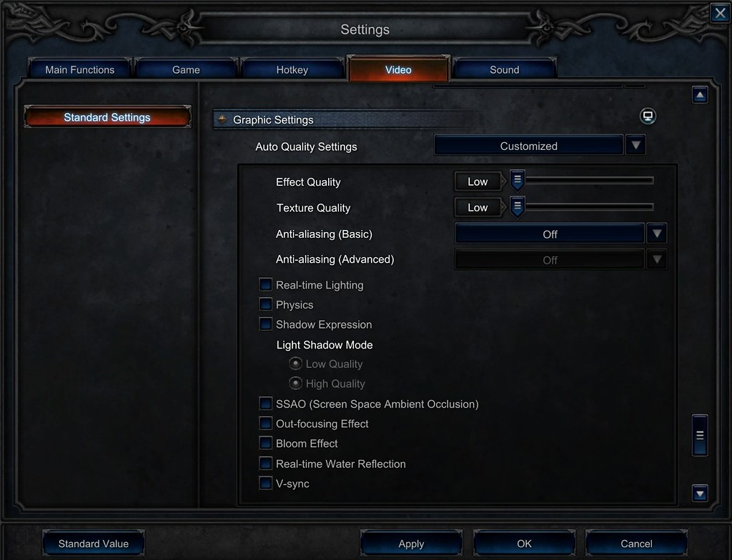 mu legend settings