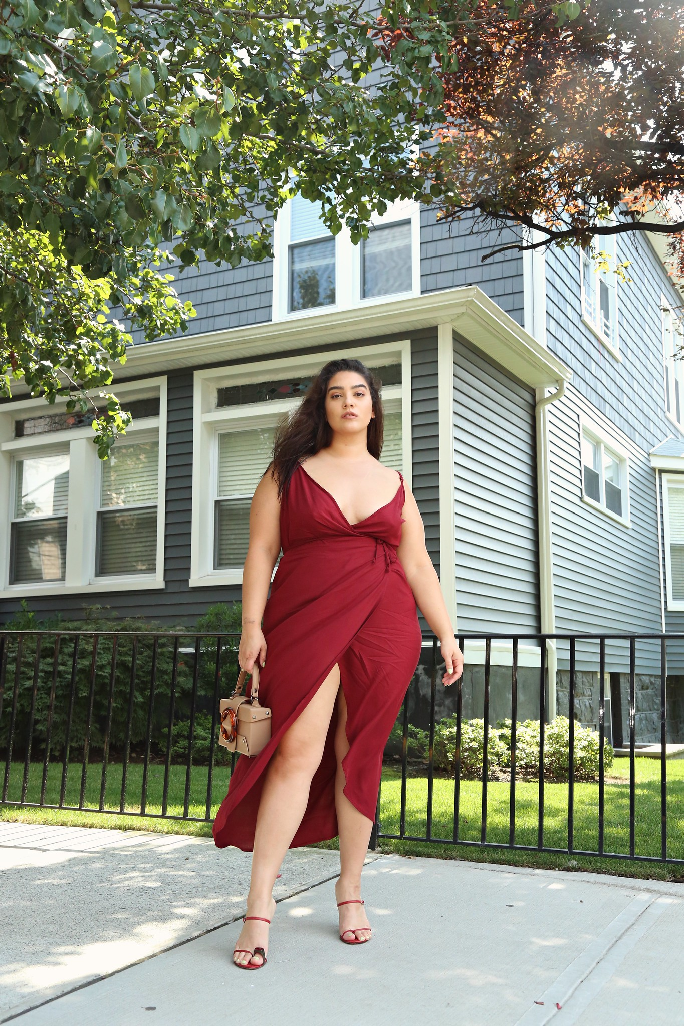 nadia burgundy wrap dress
