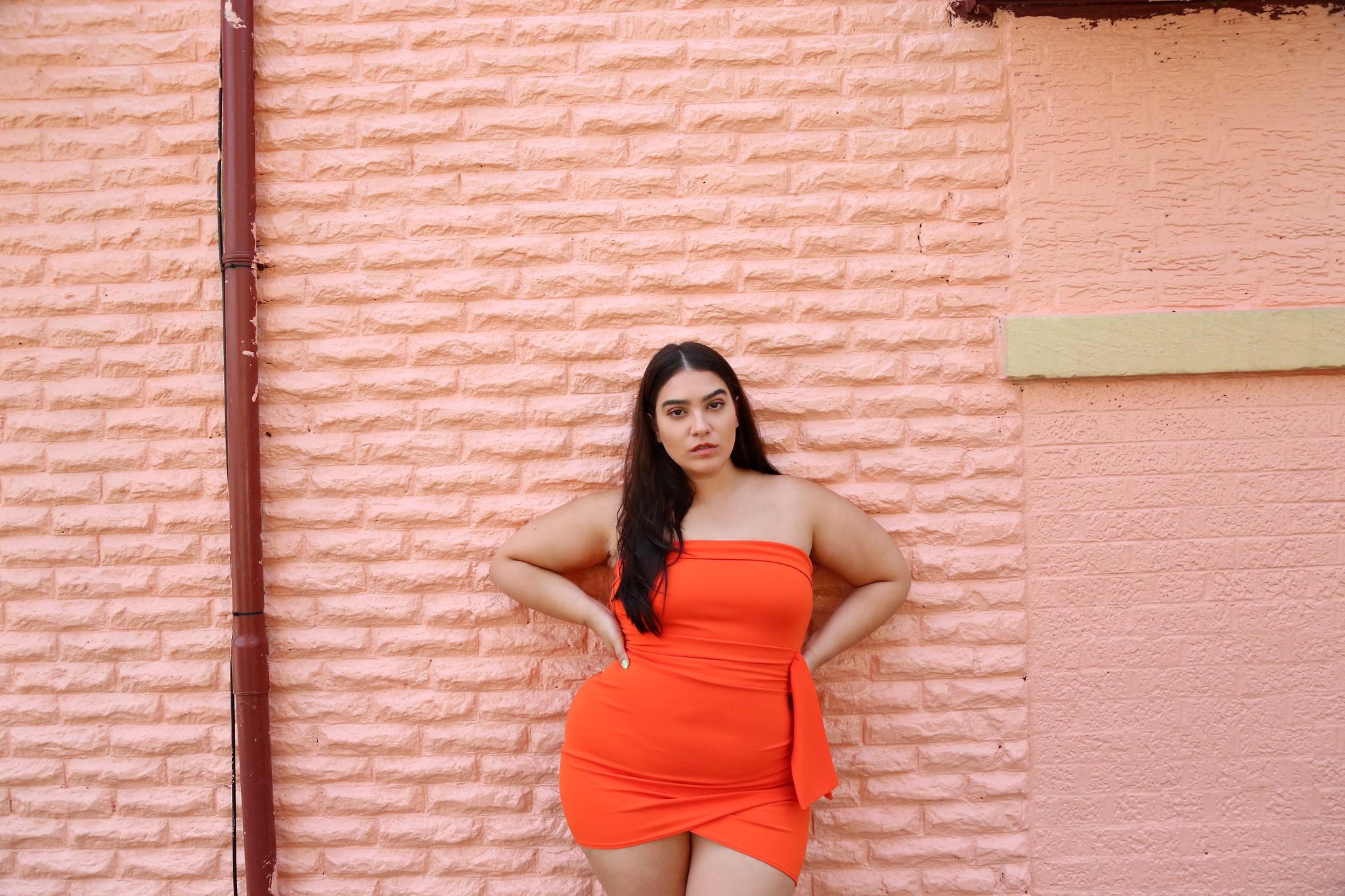 orange mini dress