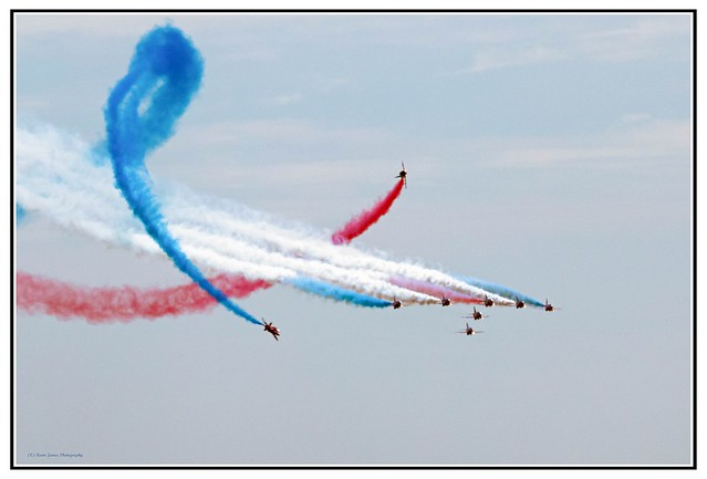 The Red Arrows performing their TORNADO manoeuvre